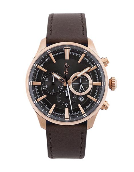 BOXED CHRONOGRAPH LEATHER WATCH