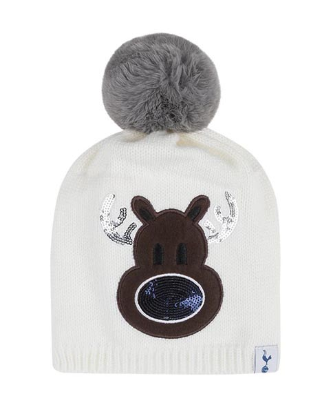 KIDS SEQUIN REINDEER BOBBLE BEANIE