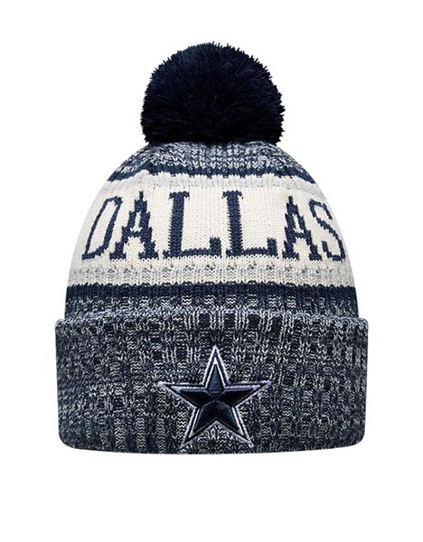 NEW ERA DAL BLU BOBBLE KNIT HAT
