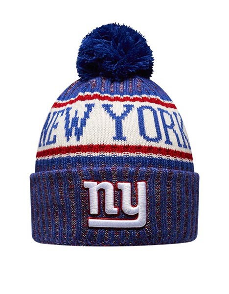 NEW ERA NYG BLU BOBBLE KNIT HAT