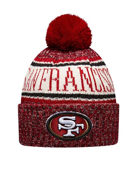 NEW ERA SF9 RED BOBBLE KNIT HAT