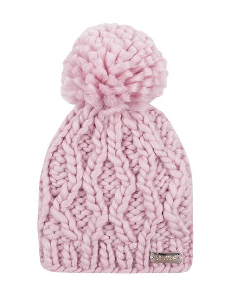 SMALL KIDS PINK CABLE POM HAT