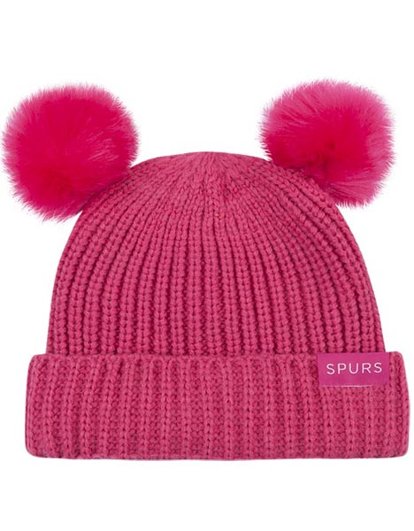 SMALL KIDS BRIGHT PINK DOUBLE POM HAT