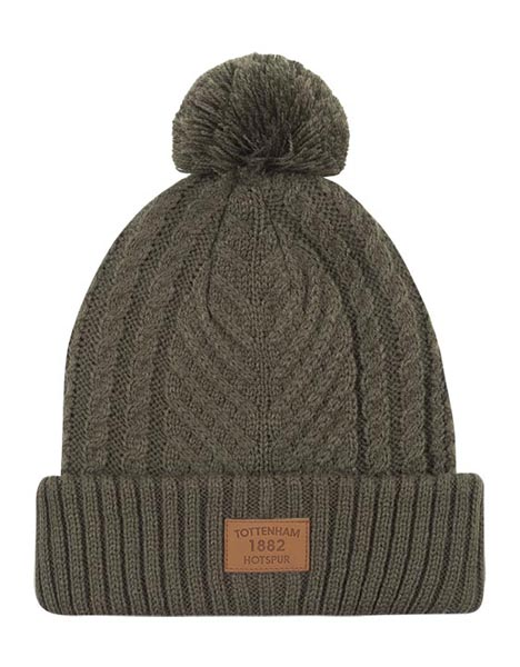 ADULT KHAKI CABLE BOBBLE HAT