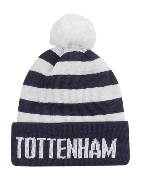 KIDS NAVY BAR STRIPE BOBBLE HAT