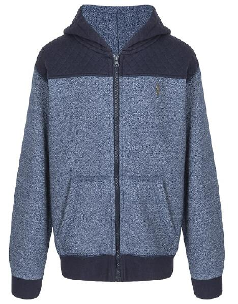Youth Boys Quilted Blue Marl Hoodie