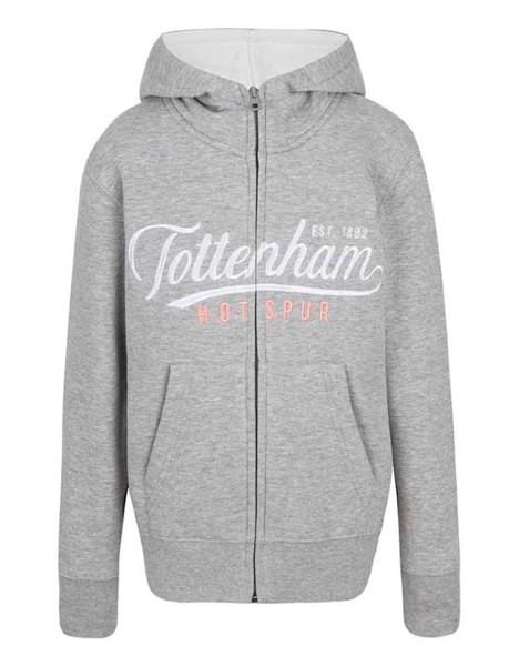 Spurs Girls Tottenham Embroidered Zip Thru Hoodie