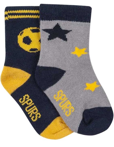 Spurs Baby 2 Pack Football And Stars Socks