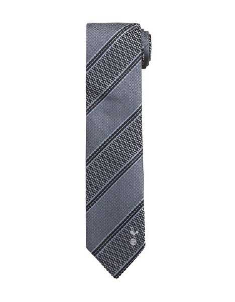 GREY TEXTURED STRIPE POLYESTER TIE