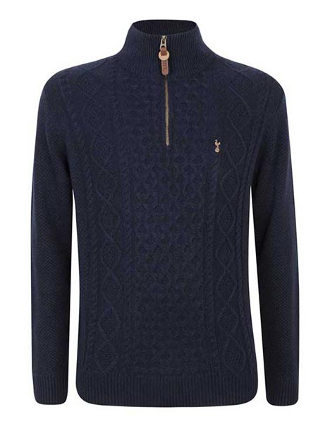Spurs Mens Cable 1/4 Zip Neck Jumper