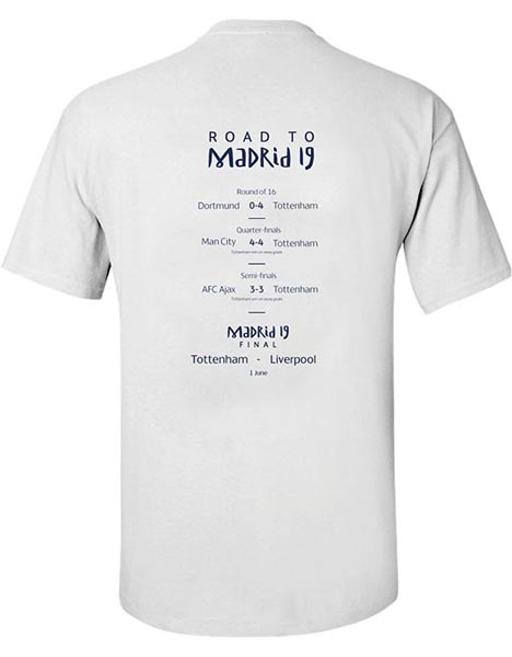 Spurs Adult Champions League Road To Final T-Shirt