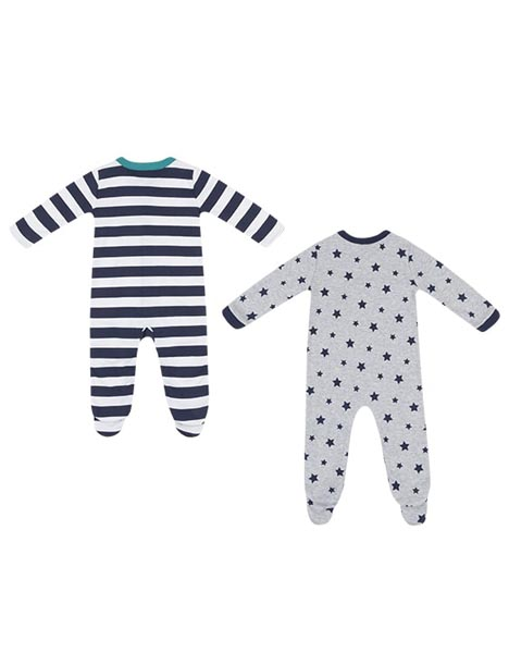 Spurs 2 Pack Baby Boys Sleepsuits
