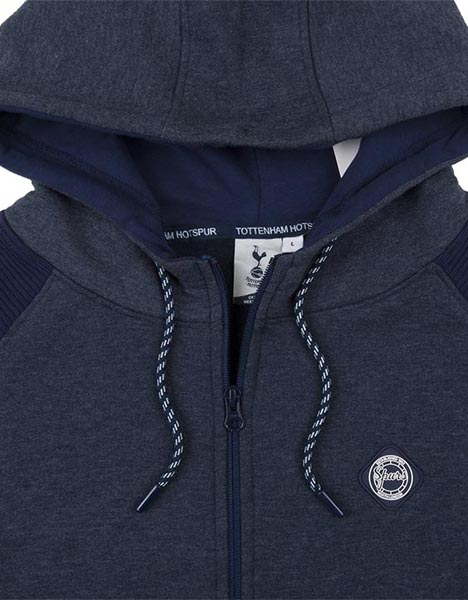 Spurs Mens 1/4 Zip Colour Block Hoodie