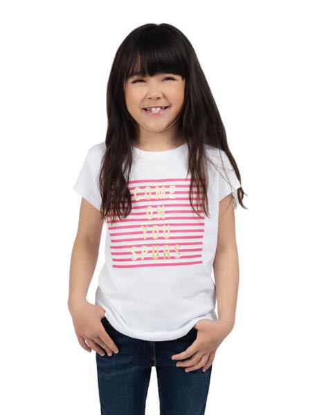 Spurs Girls Stripe Front Panel T-Shirt