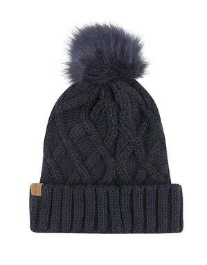 Spurs Adult Navy Cable Knit Pom Beanie
