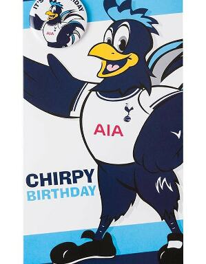 Spurs Chirpy Birthday Card And Badge