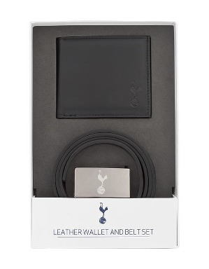 Spurs Mens Leather Belt And Wallet Set