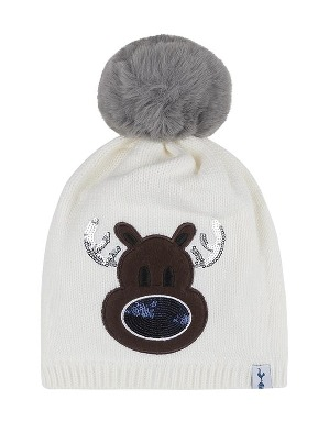 Spurs Adult Sequin Reindeer Bobble Beanie