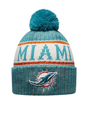 New Era Adult Miami Dolphins Bobble Knit Hat