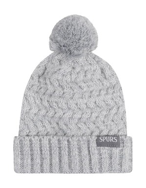 Spurs Womens Grey Knit Bobble Hat