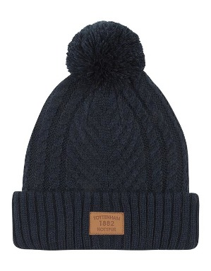 Spurs Adult Navy Cable Bobble Hat