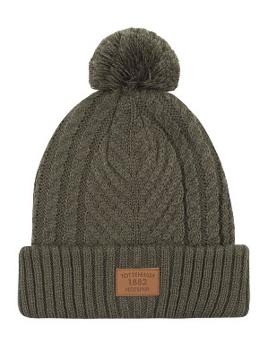 Spurs Adult Khaki Cable Bobble Hat