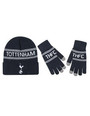 Spurs Adult Stripe Beanie Glove Set