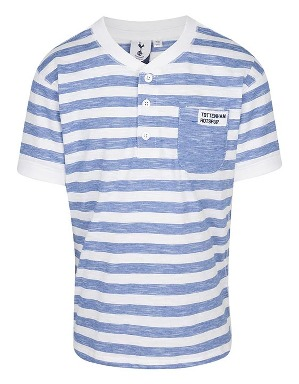 Spurs Boys Stripe Grandad Collar T-shirt