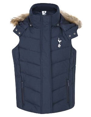 Spurs Girls Fur Trim Hooded Gilet