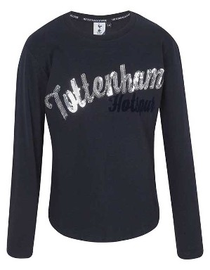 Spurs Girls L/S Tottenham Print and Sequin T-Shirt