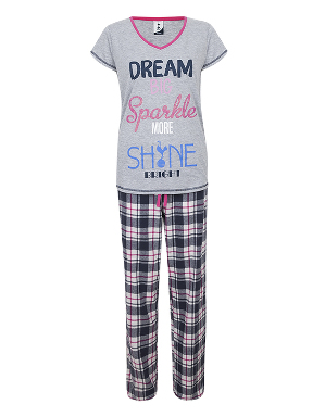 Spurs Womens Check Bottom PJ Set