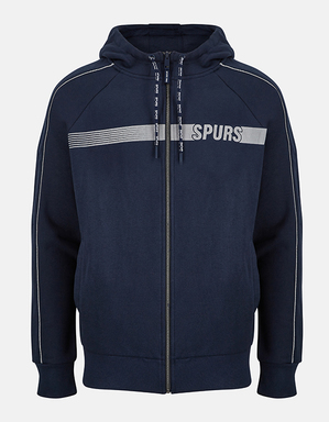 Spurs Mens Piping Detail Zip Through Hoodie