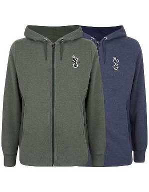 Spurs Mens Mixed Marl Zip Through Hoodie