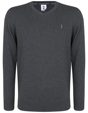 Spurs Mens Grey Essential V Neck Jumper