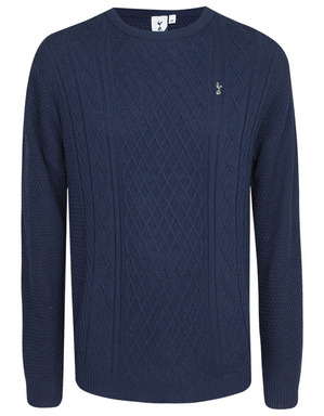 Spurs Mens Front Cable Knit Jumper