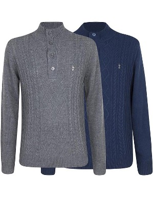 Spurs Mens Button Neck Jumper