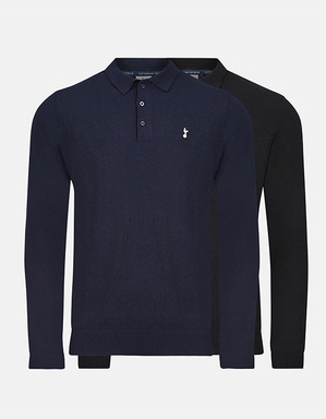 Spurs Mens Long Sleeve Navy Knit Polo