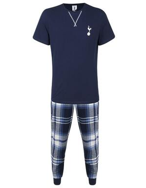 Spurs Mens Short Sleeve Check PJ Set