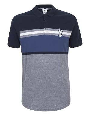Spurs Mens Stripe Yoke Polo