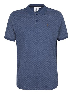 Spurs Mens Checkerboard Pattern Polo