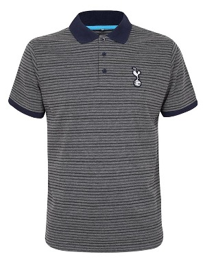 Spurs Mens Grey Stripe Polo