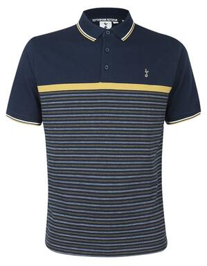 Spurs Mens Broken Stripe Yoke Polo