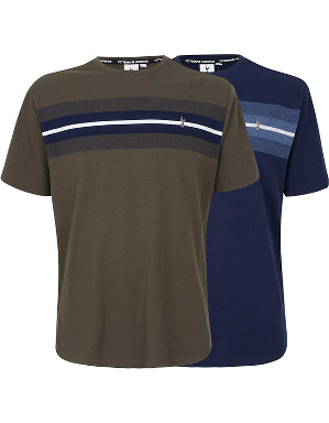 Spurs Mens Pique Chest Stripe T-shirt
