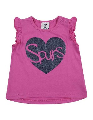 Spurs Baby Girl Glitter Heart T-Shirt