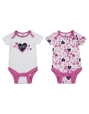 Spurs Baby Girl Heart Print 2 Pack Bodysuits
