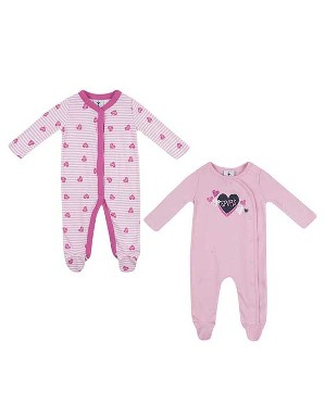 Spurs Baby Girl 2 Pack Heart Print Sleepsuit