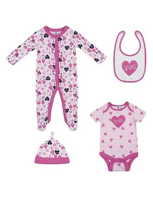 Spurs Baby Girl 4 Piece Heart Set