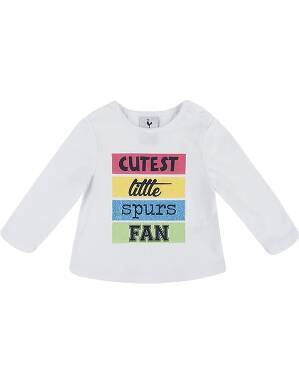 Spurs Baby Girl Cutest Fan Glitter T-Shirt