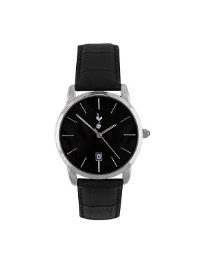 Spurs Black Dial Leather Strap Watch