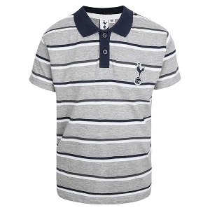 Spurs Boys Grey Striped Polo